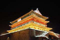Xian Drum Tower Night Photographie stock