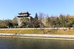 Xian fosa w zimie i circumvallation Fotografia Royalty Free