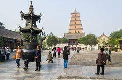XIAN KINA - Oktober 17, 2013: Jätte- lös gåspagod, Xian, Shaanxi landskap, Kina Royaltyfria Bilder