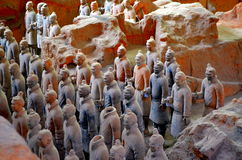 XIAN MAY 11: exhibition of the famous Chinese Terracotta Army Terracotta Warriors on MAY 11, 2016 in Xian, of Shaanxi Provinc Royalty Free Stock Photo