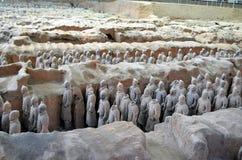 XIAN MAY 11: utställning av de berömda kinesiska krigarna för terrakottaarméterrakotta på MAJ 11, 2016 i Xian, av Shaanxi Provinc arkivfoton