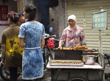 Xian Muslim Market Vendor Royalty Free Stock Images