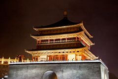 XiAn at Night. The Bell Tower is seen in Xi`An, China Stock Photo