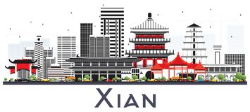 Xian Porcelanowa linia horyzontu z kolorów budynkami Odizolowywającymi na bielu Fotografia Stock