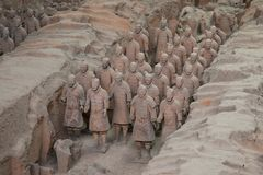 Xian, Shaanxi, China - 08 12 2016: Some terracotta soldiers of the Terracotta Army, part of the Mausoleum of the First Qin Emperor. And a UNESCO World Heritage stock photos