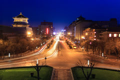 Xian street at night with light trails Royalty Free Stock Image