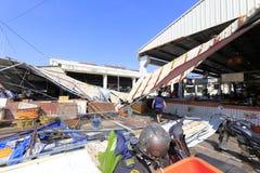 xiang'an区食物市场崩溃屋顶  库存图片