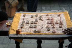 Xiangqi Game in Park. Men Playing Chinese Chess Xiangkq in the Park in Beijing China Royalty Free Stock Images