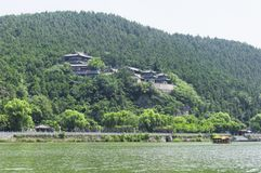 Xiangshan Temple in Longmen Grottoes. Xiangshan Buddhist Temple on the hills within Longmen Grottoes scenic area in Luoyang China in Henan Province stock photography