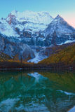 Xiannairi Holy Mountain and Zhuoma La Lake, Yading, daocheng Royalty Free Stock Photo