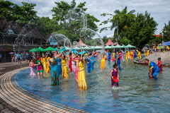 Xiaoganlanba Xishuangbanna Dai Park Plaza splash splashing Carnival. Songkran comes from India, with the influence of Buddhism in the Dai region deepened royalty free stock images