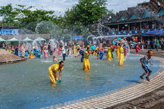 Xiaoganlanba Xishuangbanna Dai Park Plaza splash splashing Carnival. Songkran comes from India, with the influence of Buddhism in the Dai region deepened royalty free stock photos
