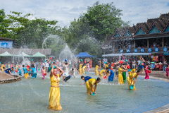 Xiaoganlanba Xishuangbanna Dai Park Plaza splash splashing Carnival. Songkran comes from India, with the influence of Buddhism in the Dai region deepened royalty free stock image