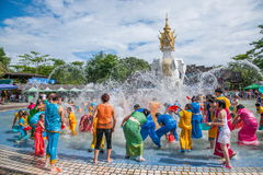 Xiaoganlanba Xishuangbanna Dai Park Plaza splash splashing Carnival. Songkran comes from India, with the influence of Buddhism in the Dai region deepened stock photos