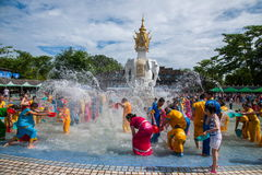 Xiaoganlanba Xishuangbanna Dai Park Plaza splash splashing Carnival. Songkran comes from India, with the influence of Buddhism in the Dai region deepened stock photography