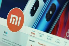 Xiaomi company on twitter. Official account of Xiaomi company on social media network twitter stock image