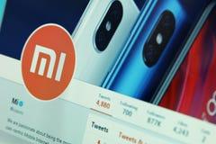 Xiaomi-Firma auf Twitter stockbild