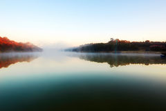Xiaoqing lake and morning fog Royalty Free Stock Image