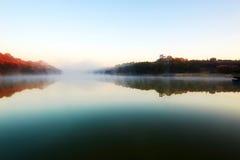 Xiaoqing lake and morning fog Royalty Free Stock Image