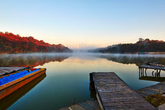 Xiaoqing lake sunrise and boat Stock Photo