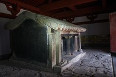 Xiaotangshan sl?kt- hus, v?stra han dynasti arkivbilder