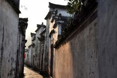 Xidi en liten forntida by i det Anhui landskapet i Kina nära de gula bergen Arkivbilder