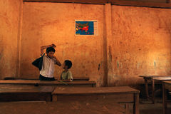 XIENG KHOUANG, LAOS - SEP 09 : Unidentified kids school's out Royalty Free Stock Images
