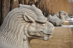 Xiezhi statue. On the spirit way to the Ming Tombs in Beijing China Royalty Free Stock Images
