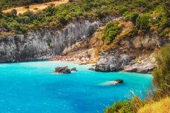 Xigia在扎金索斯州海岛上的硫磺和胶原春天 库存图片