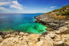 Xigia在扎金索斯州海岛上的硫磺和胶原春天 免版税库存照片