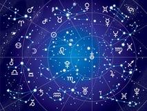 XII constellations de zodiaque (version ultra-violette de modèle) Photos libres de droits