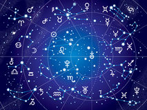 XII Constellations of Zodiac (Ultraviolet Blueprint version). XII Constellations of Zodiac and Its Planets the Sovereigns. Astrological Celestial Chart. ( Royalty Free Stock Photos