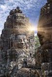 XII secolo antico del tempio di Bayon a Angkor Wat, Siem Reap, Cambogia immagine stock