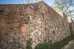 The XIII century defensive wall. In the city of Strzelce Krajenskie, western Poland Stock Image