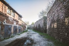 The XIII century defensive wall. In the city of Strzelce Krajenskie, western Poland Stock Photos