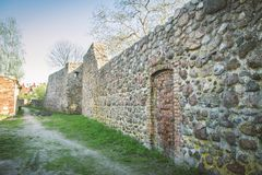 The XIII century defensive wall. In the city of Strzelce Krajenskie, western Poland Royalty Free Stock Photo
