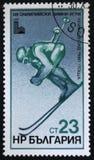 XIII juegos de olimpiada de invierno, Lake Placid, eslalom, circa el an o 80 Imagenes de archivo