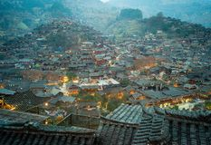 Xijiang тысяча деревень Miao семьи, Гуйчжоу, Китай стоковые изображения rf