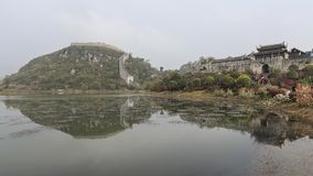 Panoramic view of Qingyan ancient town in Guizhou, China royalty free stock photo