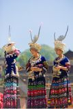 Miao Minority Women Festival Clothes Headdress Stock Photo