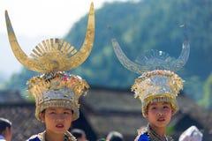 Xijiang Miao Minority Women Festival Clothes Kina arkivbilder