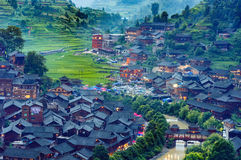 Xijiang miao village. The largest miao village in GuiZhou province, China stock photos