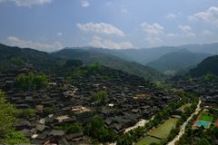 Xijiang Qianhu Miao Village. Located on the north side of Leigong Hill, Xijiang Qianhu Miao Village is about 35 km 22 miles away from Kaili city; the capital of royalty free stock photo