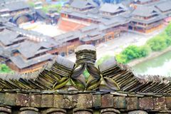 The Xijiang Qianhu Miao village. Is a place where the `primitive ecology` of the Miao nationality is preserved. It is the largest Miao Nationality Village in royalty free stock images