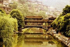 The Xijiang Qianhu Miao village. Is a place where the `primitive ecology` of the Miao nationality is preserved. It is the largest Miao Nationality Village in royalty free stock photography