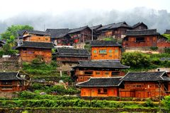 The Xijiang Qianhu Miao village. Is a place where the `primitive ecology` of the Miao nationality is preserved. It is the largest Miao Nationality Village in royalty free stock photos