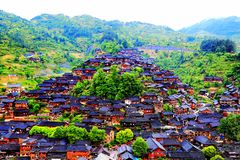 The Xijiang Qianhu Miao village. Is a place where the `primitive ecology` of the Miao nationality is preserved. It is the largest Miao Nationality Village in stock images