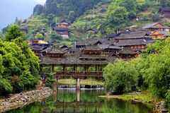 The Xijiang Qianhu Miao village. Is a place where the `primitive ecology` of the Miao nationality is preserved. It is the largest Miao Nationality Village in stock image