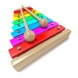 Xilófono con llaves coloreadas del arco iris y con dos palillos de madera del tambor 3d rinden Imágenes de archivo libres de regalías