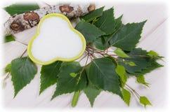 Xilitol - substituto del azúcar Azúcar del abedul en el fondo de madera blanco Imagen de archivo libre de regalías